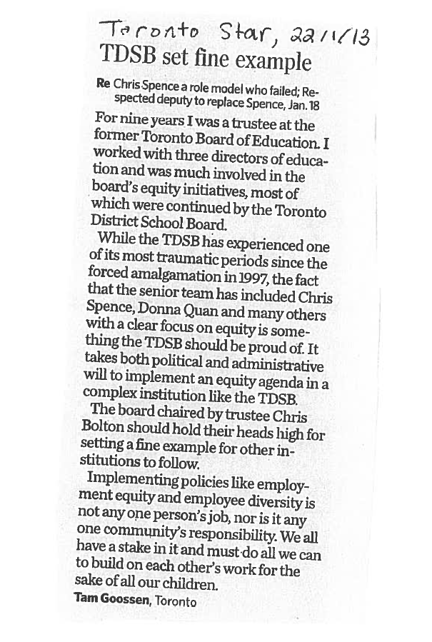 Letter To The Editor Re Chris Spence Urban Alliance On