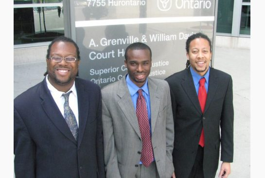 Lawyer Selwyn Pieters, lawyer Brian Noble and law student Paul Waldron on May 16, 2008, outside the Brampton Courthouse.