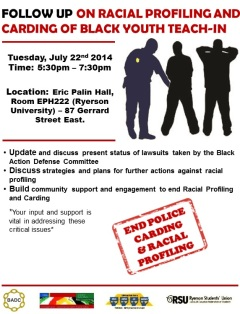 follow up on racial profiling teach-in